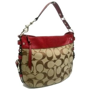 COACH Signature Zoe Red leather Trim Large Hobo